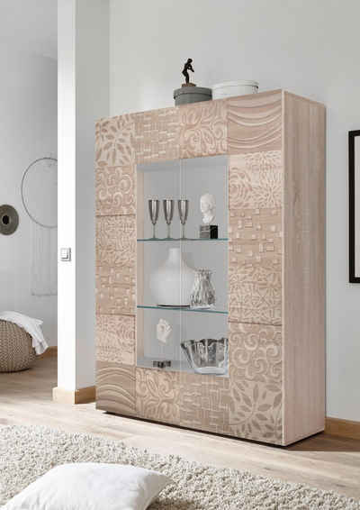 LC Stauraumvitrine »Miro« Stauraumvitrine, Höhe 166 cm mit dekorativem Siebdruck