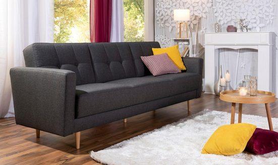 Max Winzer® Chesterfield-Sofa »Jesper«, Schlafsofa mit Knopfheftung im Rücken, inklusive Bettkasten