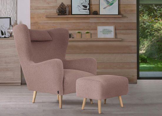 Home affaire Sessel »Telford«, wahlweise mit und ohne Hocker, in 4 Bezugsqualitäten, Bezug auch in Luxus-Microfaser in Teddyfelloptik
