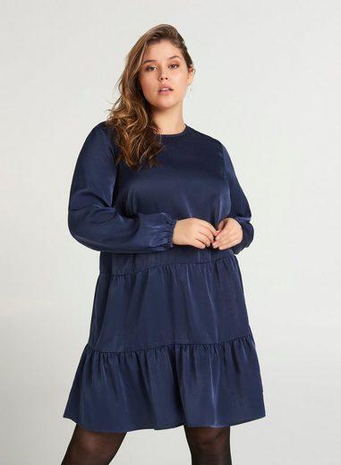 Zizzi Abendkleid Große Größen Damen Shiny Kleid mit Teilungsnaht