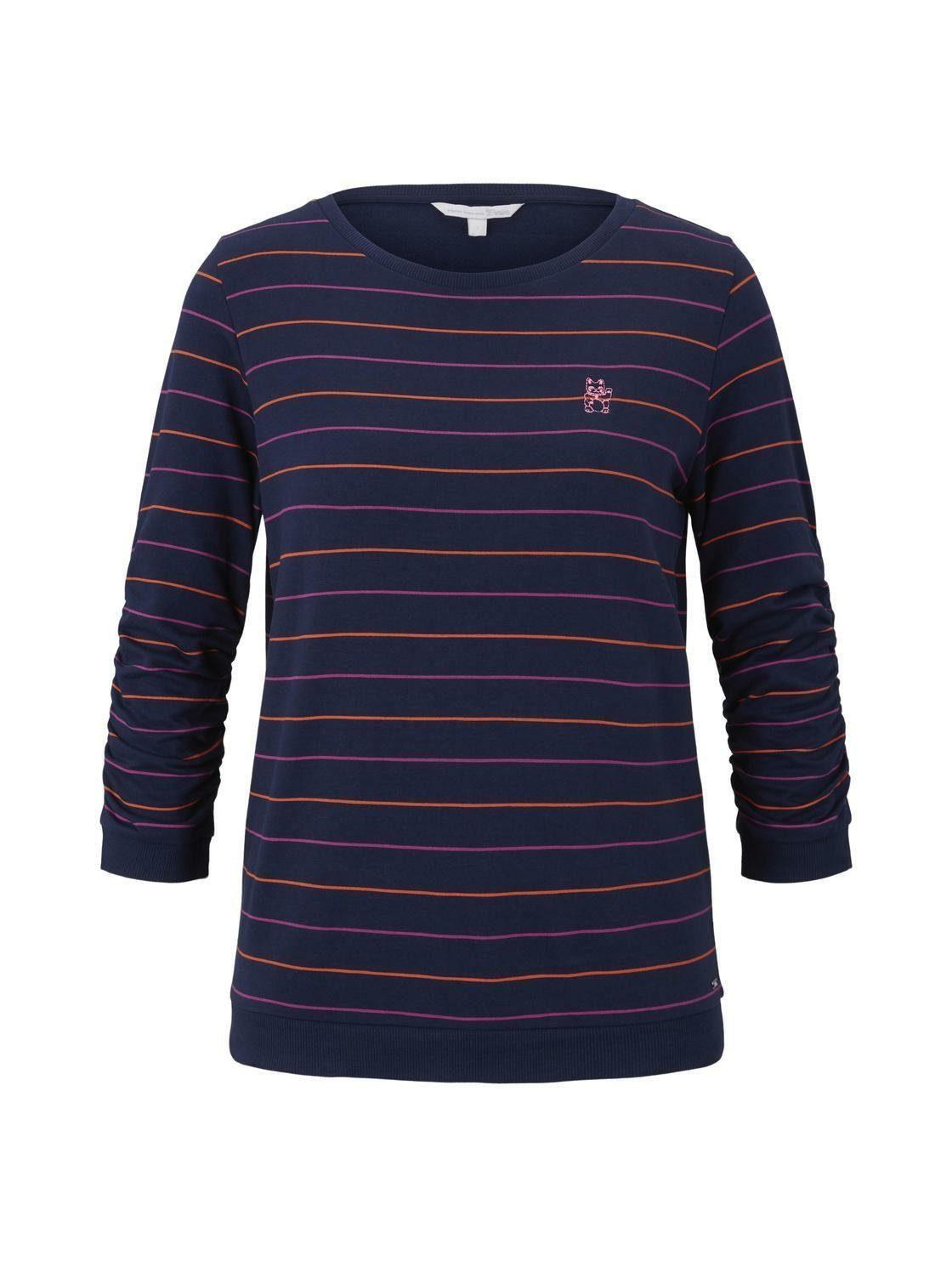 Tom Tailor Denim Sweatshirt »gestreiftes Mit Katzen-print« Online Kaufen