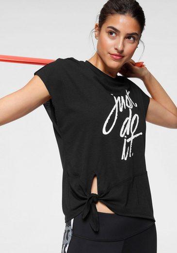 Nike T-Shirt »W Nike Dry Side Tie Shortsleeves« Seitlich zum Knoten