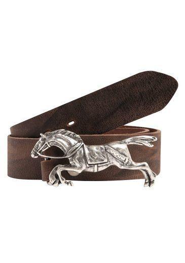 RETTUNGSRING by showroom 019° Ledergürtel mit austauschbarer Rennpferd-Schließe
