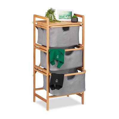 relaxdays Wäschesortierer »Wäschesortierer Bambus mit 3 Fächern«