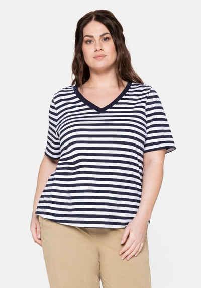 Sheego T-Shirt mit verlängertem Kurzarm