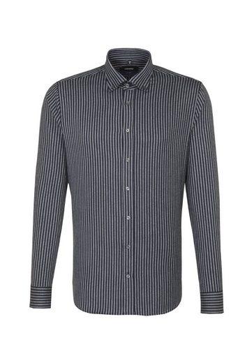 seidensticker Businesshemd »Shaped« Shaped Langarm Button-Down-Kragen Streifen