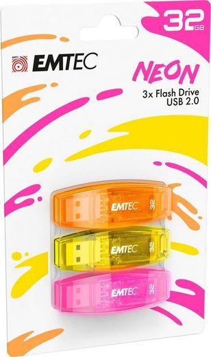 EMTEC »C410 Color Mix 2.0« USB-Stick (USB 2.0, Lesegeschwindigkeit 15 MB/s, 3er Pack (3 x 32 GB)