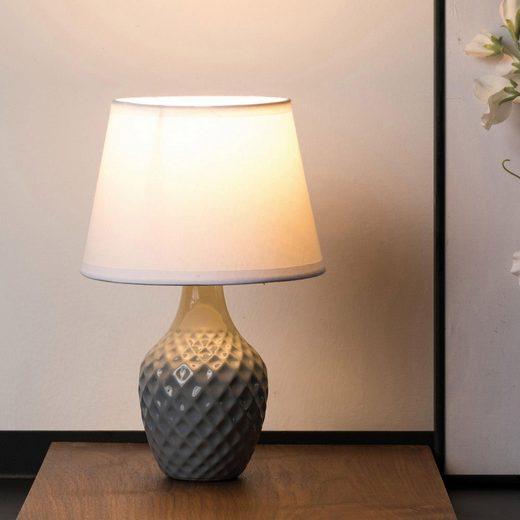 Pauleen Tischleuchte »Lovely Sparkle«, Stoffschirm, Grau, Weiß, Keramik
