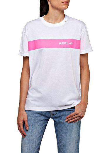 Replay T-Shirt mit auffälligem Neon-Logoprint