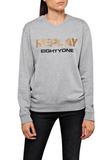 Replay Sweatshirt mit Glitzer-Print