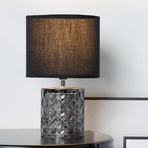 Pauleen Tischleuchte »Crystal Glow«, Stoffschirm, Schwarz, Grau, Glas