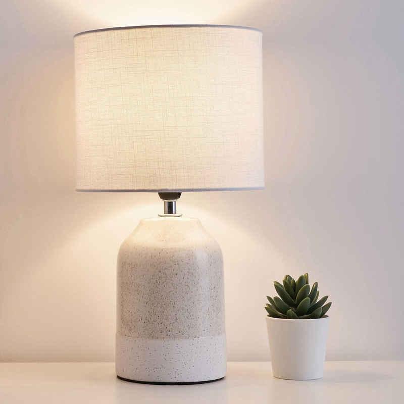 Pauleen Tischleuchte »Sandy Glow«, Stoffschirm Beige, Weiß, Keramik
