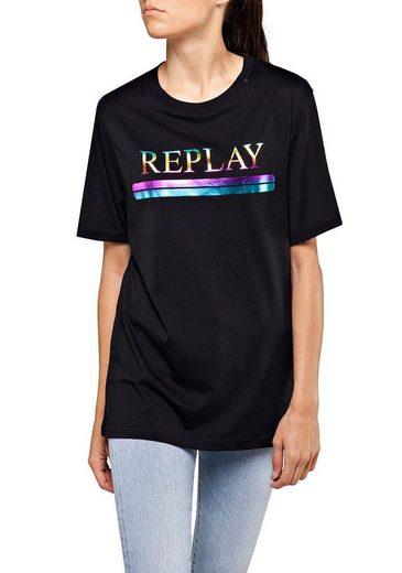 Replay T-Shirt mit glänzendem Print im Rainbow-Design