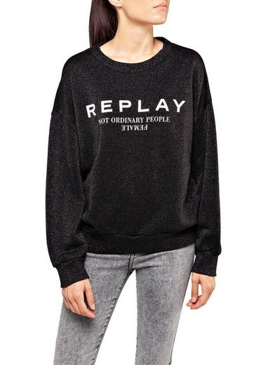 Replay Sweatshirt mit Glitzereffekt & coolem Statementprint
