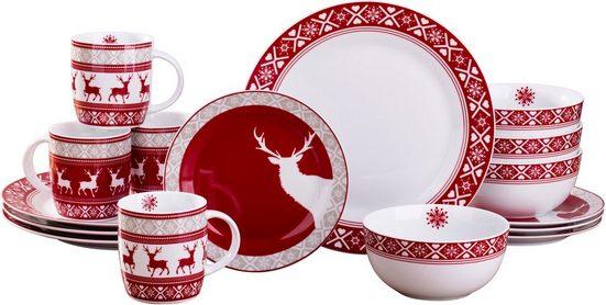 Retsch Arzberg Kombiservice »Nordic Reindeer« (16-tlg), Porzellan, Rentier-Design