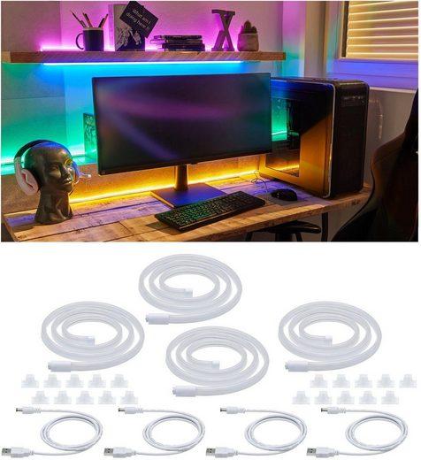 Paulmann LED-Streifen »Neon Colorflex USB Strip Set 4x1m 4x4,5W 5V Pink, Orange, Grün, Blau«