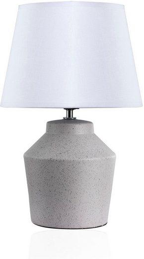 Pauleen Tischleuchte »Glowing Pearl«, Stoffschirm, Grau, Weiß, Keramik