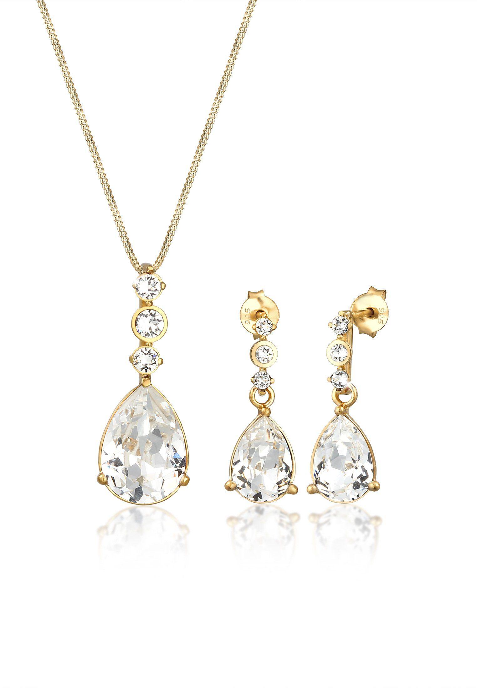 Elli Schmuckset »Set Tropfen Swarovski® Kristalle 925 Silber« online kaufen | OTTO