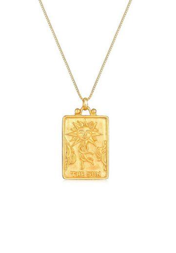 Elli Collierkettchen »Sonne Münz-Anhänger Rechteck Vintage 925er Silber«