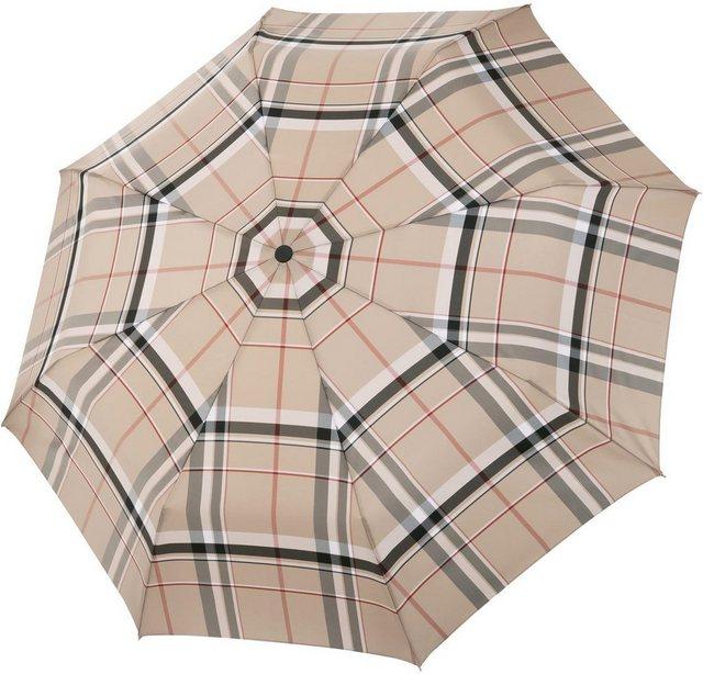 doppler MANUFAKTUR Taschenregenschirm »Serge, karo beige«, handgemachter Manufaktur-Taschenschirm | Accessoires > Regenschirme > Taschenschirme | doppler MANUFAKTUR
