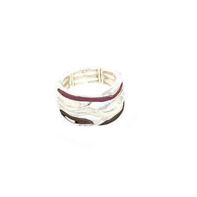 Mein Style Fingerring »elastischer Ring silber, pink, braun 5258 1«, elastischer Ring, passend für alle Ringgrößen