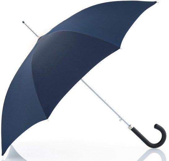 doppler MANUFAKTUR Stockregenschirm »Oxford Uni, blau«, handgemachter Manufaktur-Stockschirm