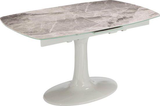 Places of Style Esstisch »Welland«, mit Keramiktischplatte in Marmoroptik, mit Auszugsfunktion, Standfuß aus Fiberglas