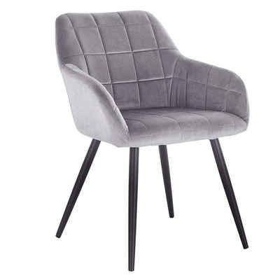 Woltu Esszimmerstuhl »BH93«, mit Armlehne, Sitzfläche aus Samt, Sitzfläche aus Samt