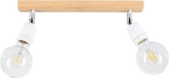 BRITOP LIGHTING Deckenleuchte »PORCIA WOOD«, Retro-Design mit Porzellan und Eichenholz, Flexibel einstellbar, Naturprodukt aus Holz, Made in Europe