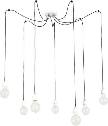 BRITOP LIGHTING Pendelleuchte »PORCIA SPIDER«, Hängeleuchte, Retro-Design mit Porzellan, Textilkabel in Anthrazit, Passende LM E27/ exklusive, Made in Europe