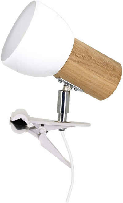 SPOT Light Klemmleuchte »SVENDA«, Naturprodukt aus Massivholz, Nachhaltig mit FSC®-Zertifikat, Mit beweglichem Kopf, Passende LM E27, Made in EU