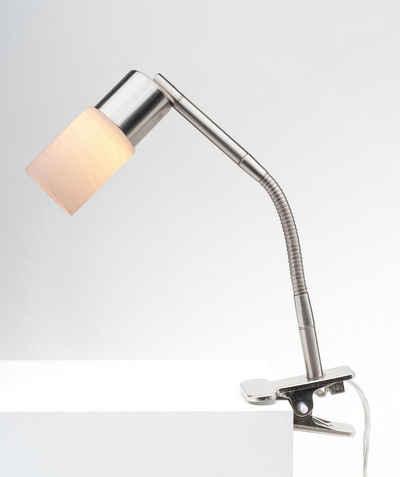 SPOT Light Klemmleuchte »EASYFIX«, LED-Leuchtmittel integriert, mit flexiblem Arm, Schirm aus Glas, Leuchte aus Metall.