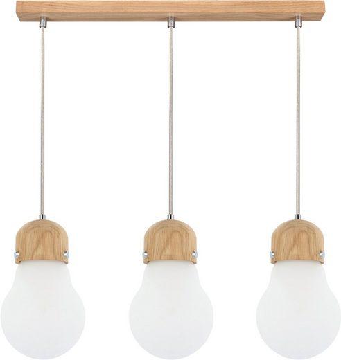 BRITOP LIGHTING Pendelleuchte »BULB WOOD«, Hängeleuchte, Naturprodukt aus Eichenholz, Nachhaltig mit FSC®-Zertifikat, Hochwertiger Schirm aus Glas, Kabel kürzbar, Made in EU