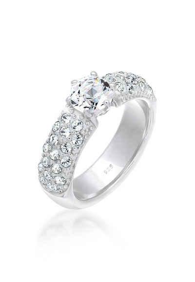 Elli Fingerring »Verlobungsring Swarovski® Kristalle 925 Silber«