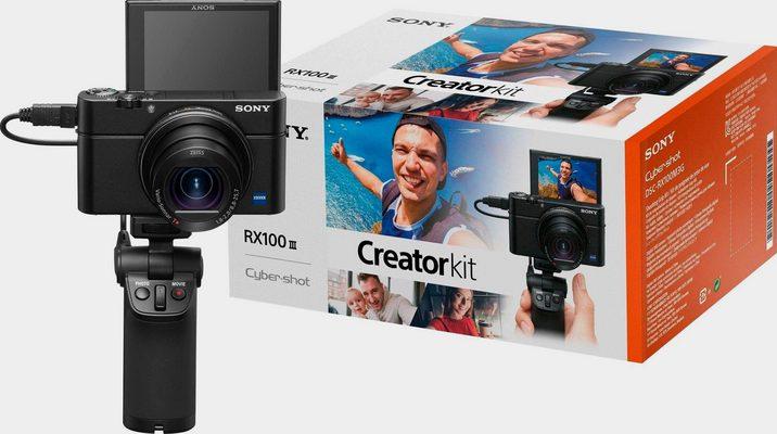 Sony »DSC-RX100 III G« Kompaktkamera (24-70mm Carl Zeiss Vario Sonnar T* Objektiv (F1.8-F2.8), 20,1 MP, 2,9x opt. Zoom, NFC, WLAN (Wi-Fi), inkl. VCT-SGR1 Stativgriff)