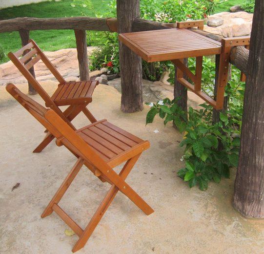 Garden Pleasure Balkonhängetisch »BERKELEY« (Set, 3-St), Eukalyptus, klappbar, 60x40cm, 2 Stühle, braun