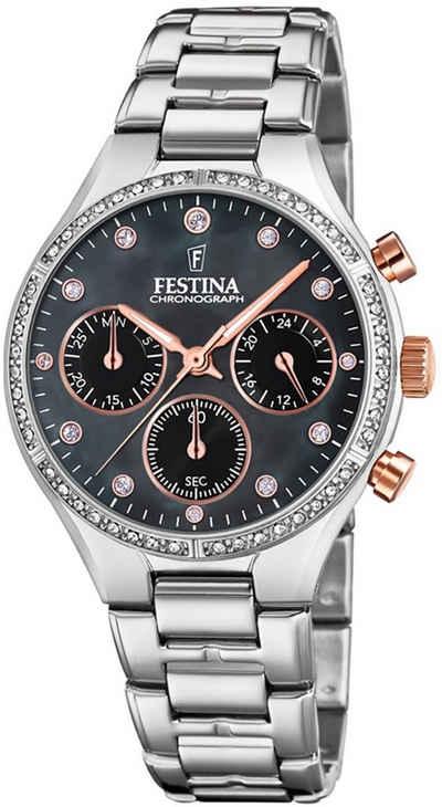 Festina Chronograph »UF20401/4 Festina Damen Uhr F20401/4 Edelstahl«, (Chronograph), Damen Armbanduhr rund, Edelstahlarmband silber