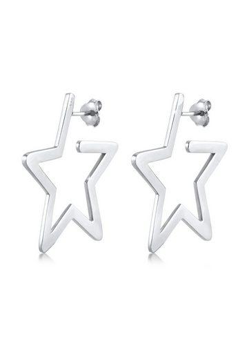 Elli Paar Creolen »Creolen Stern Astro Filigran 925 Silber«