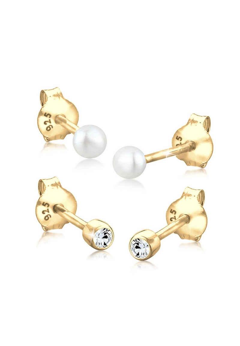 Elli Perlenohrringe »Set Basic Perle Kristalle 925 Silber«