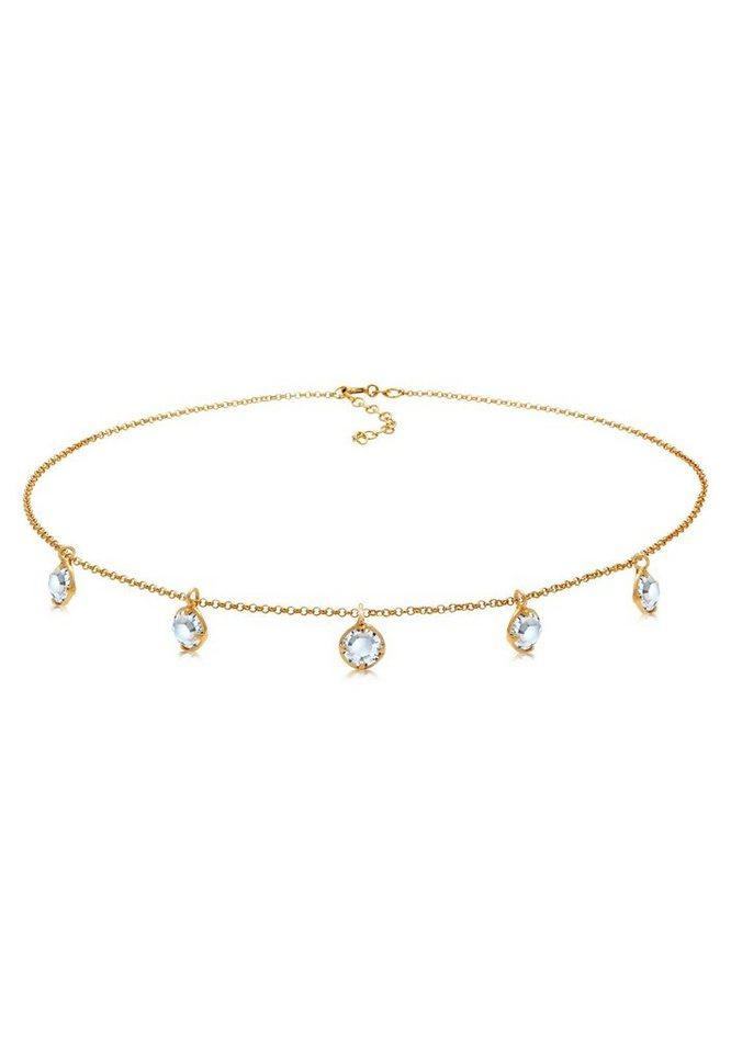elli -  Collierkettchen »Choker mit Swarovski® Kristalle Silber vergoldet«