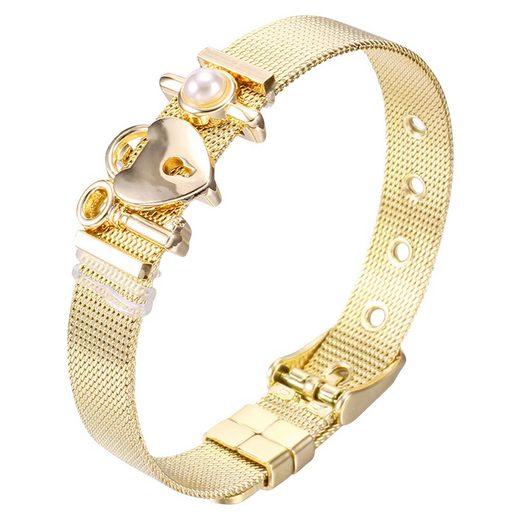 "Heideman Armband »Milanaise gold«, mit verschiedenen Charms ""Schloss"" und Perle"