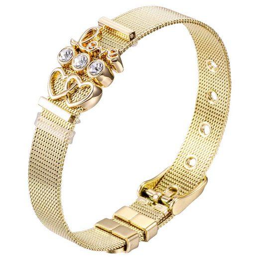 """Heideman Armband »Milanaise gold«, mit verschiedenen Charms """"Love"""" und """"Herzchen"""""""