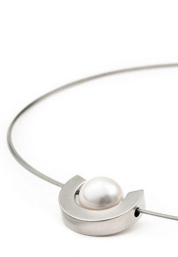 Heideman Kette mit Anhänger »Luna glanzmatt«, Edelstahlanhänger mit Perle in weiß