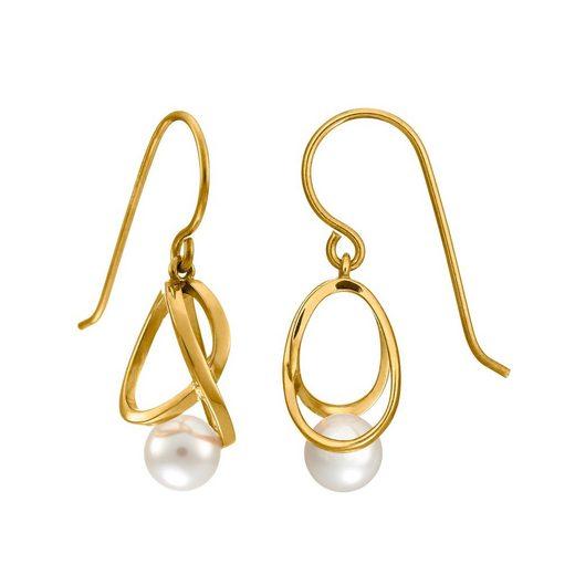 Heideman Paar Ohrhänger »Facilis gold«, schön geformt mit Perle in weiß oder farbig