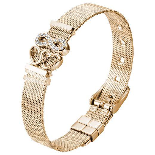 """Heideman Armband »Milanaise gold«, mit Charms """"Herzchen"""" und """"Unendlichkeitszeichen"""""""