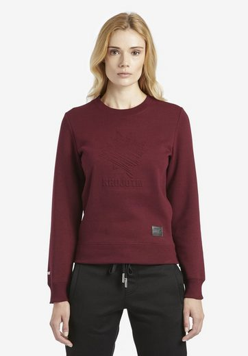 khujo Sweatshirt »LEONIE« mit Prägedruck und seitlichen Reißverschlüssen