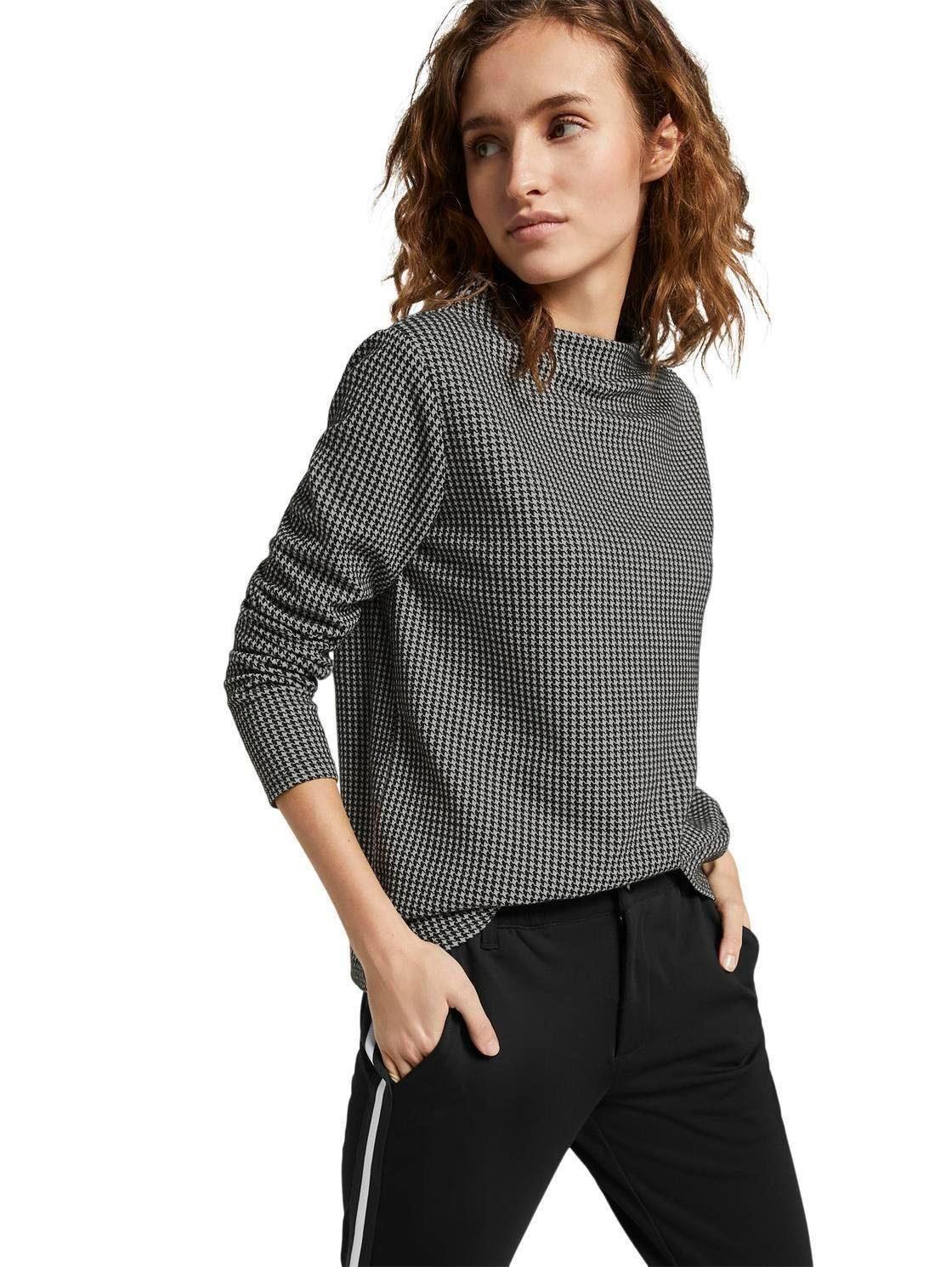 Damen TOM TAILOR Denim Sweatshirt mit modischem Hahnentrittmuster  | 04062362385832