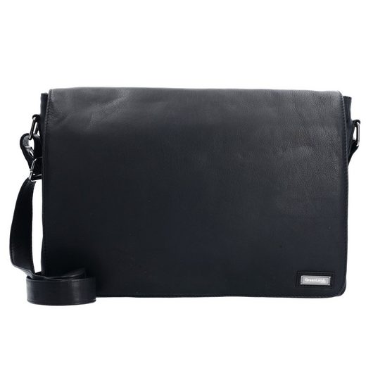 GreenLand Nature Black Nappa Messenger Leder 36 cm