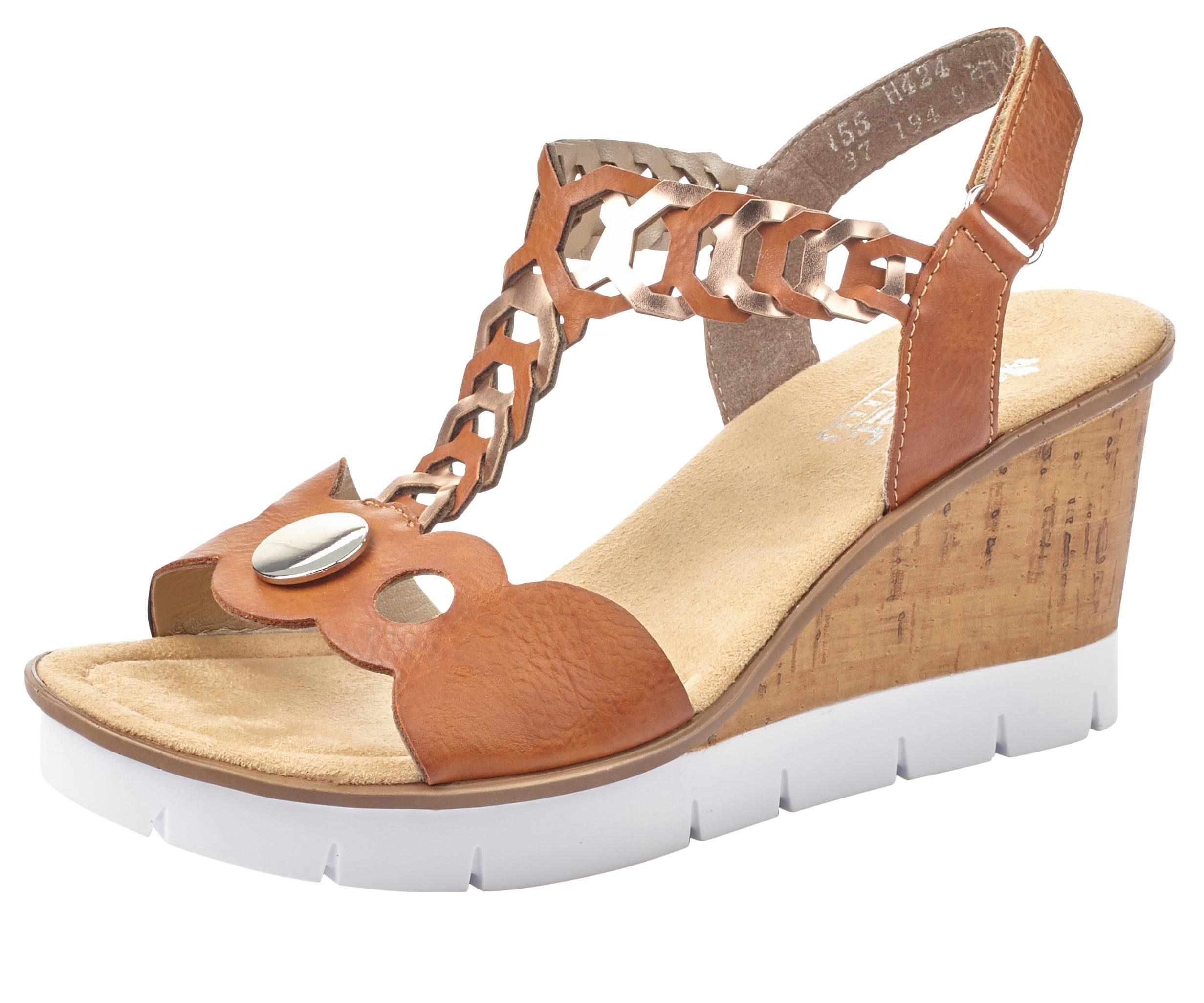 Rieker Sandalette mit Metallic Effekten, Sandalette mit glänzendem Schmuckelement online kaufen | OTTO