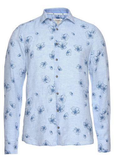 OLYMP Leinenhemd »Level Five body fit« im Alloverprint, aus Leinen